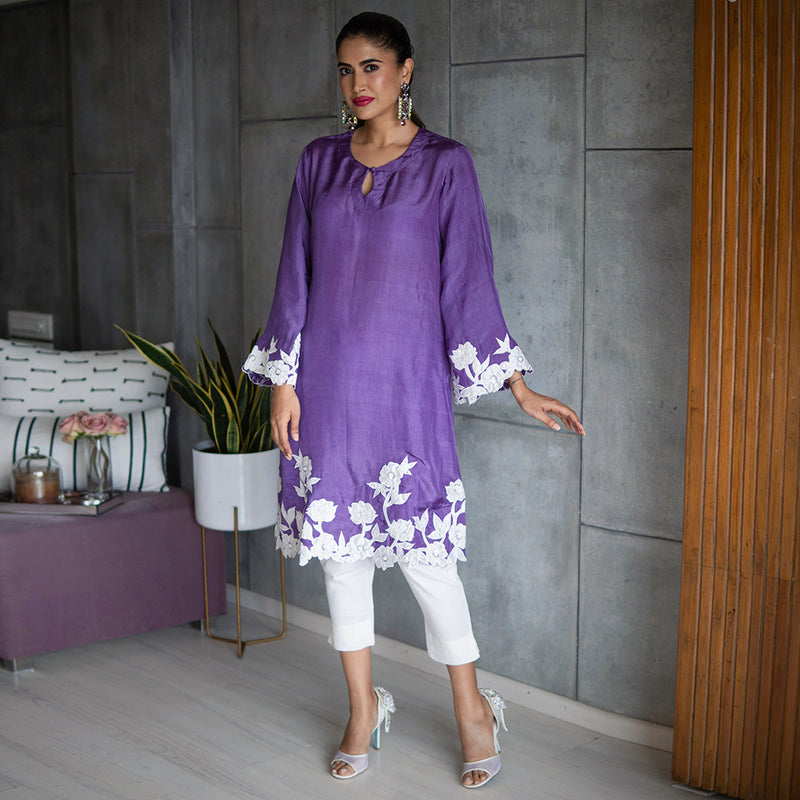 Ultra Violet Silk Kurta Set