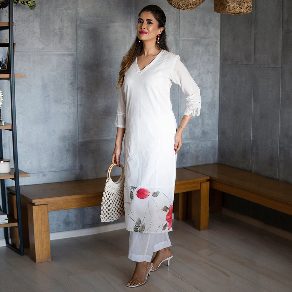 White Handpainted Kurta Set