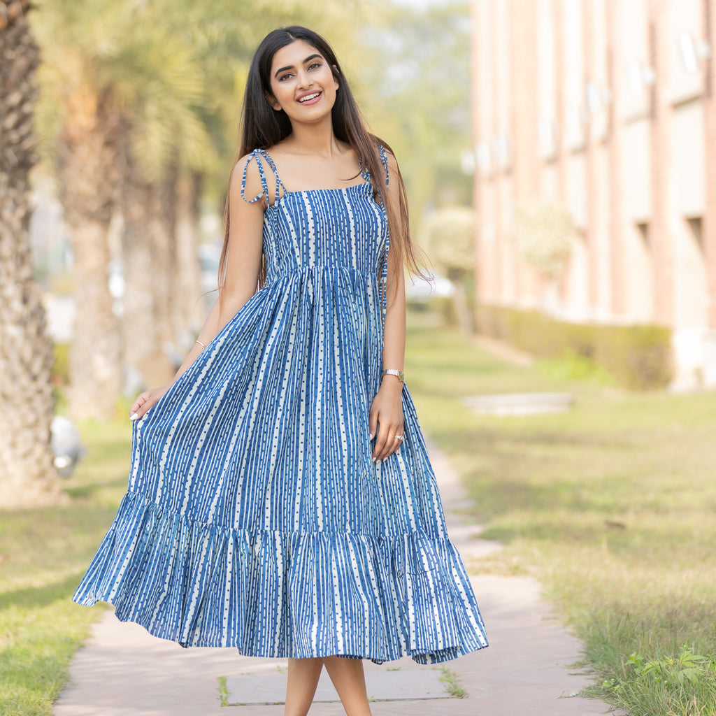 Indigo Lines Strappy Dress - Ambraee