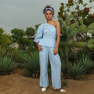 Blue Stripe Off-Shoulder Co-ord Set - Ambraee