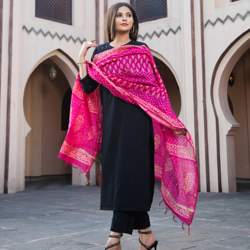 Black With Beads With Dupatta - Ambraee