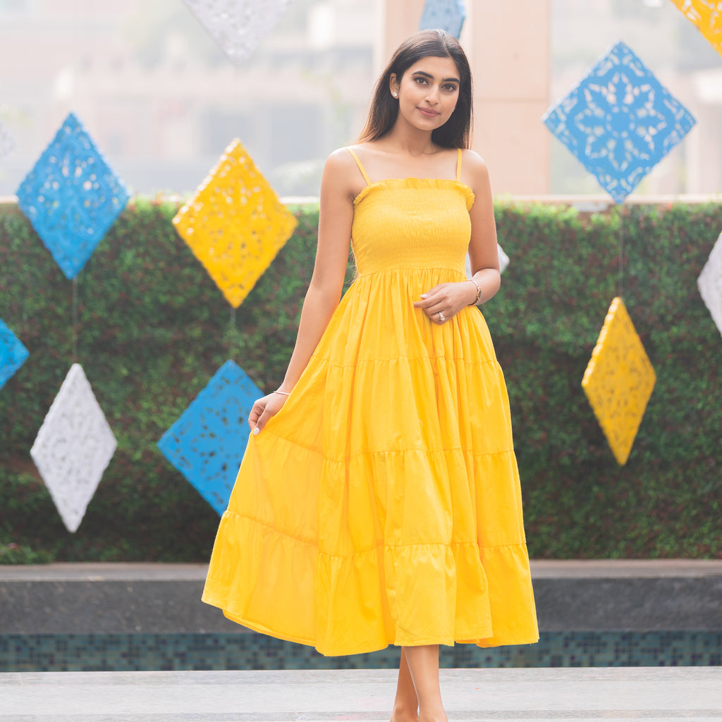 Yellow Shirring Dress - Ambraee