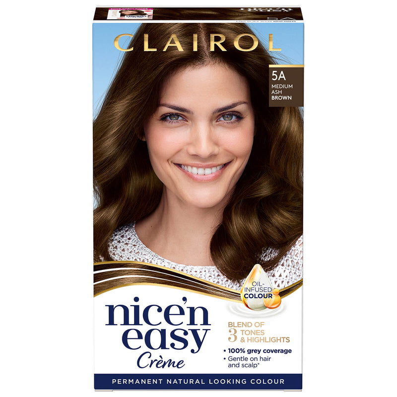 Clairol Nice'n Easy Crème - Permanent Natural Looking Colour - Oil Infused Hair Dye (177ml) (5a Medium Ash Brown)