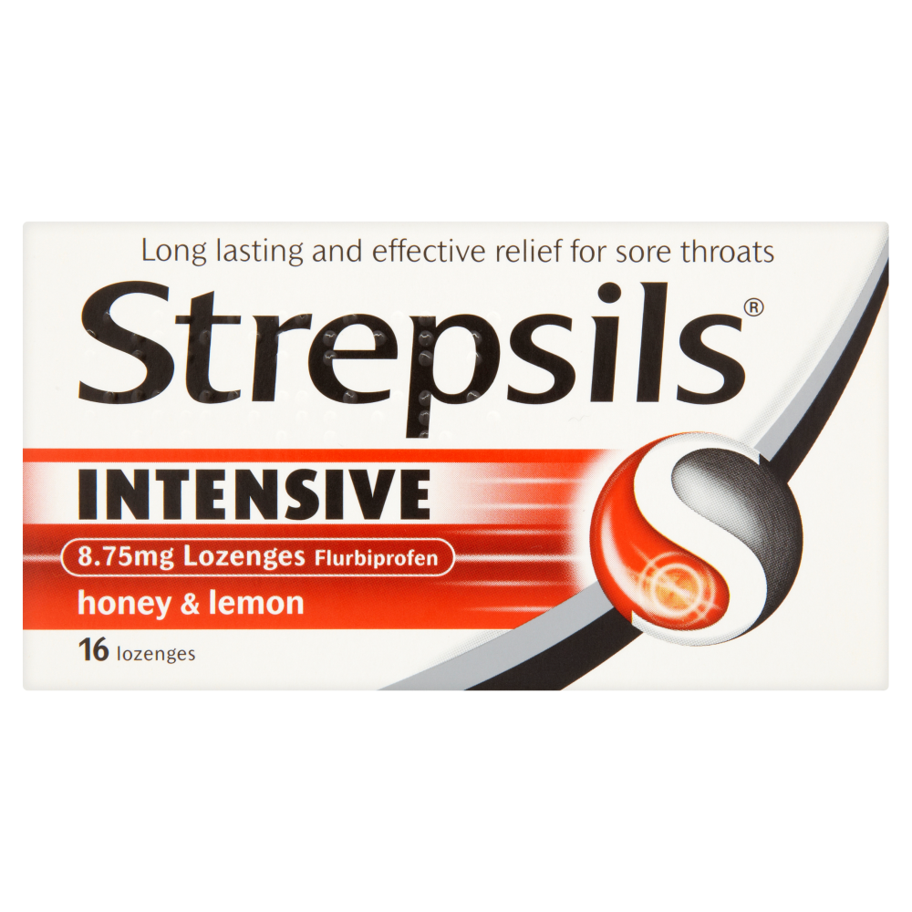 Strepsils Intensive 8.75mg Flurbiprofen Honey and Lemon 16 Lozenges