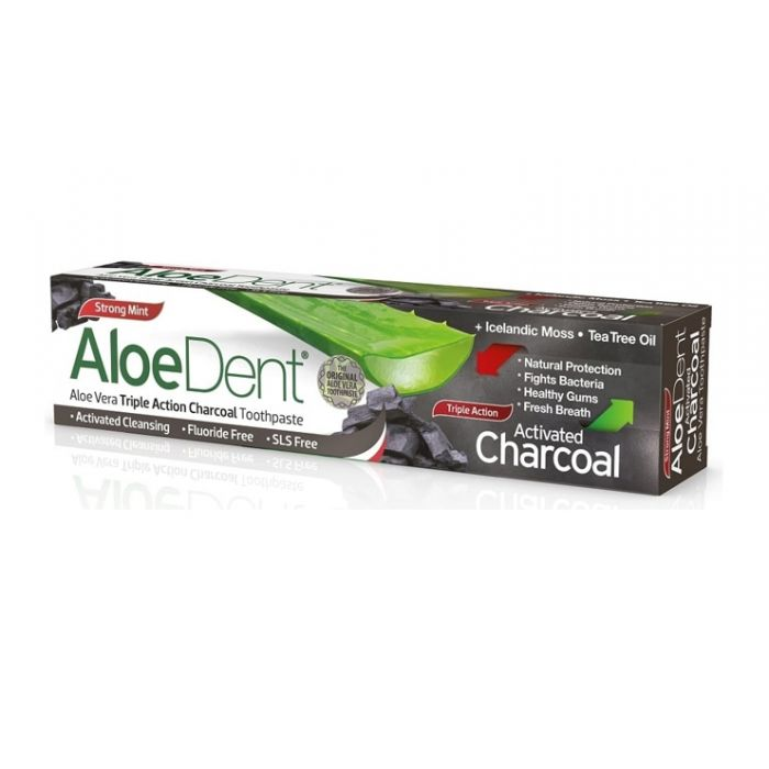 Aloe Dent Triple Action Charcoal Toothpaste, Strong Mint (100ml)