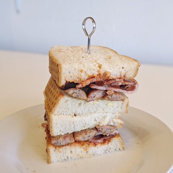 Bacon and Sausage sandwich
