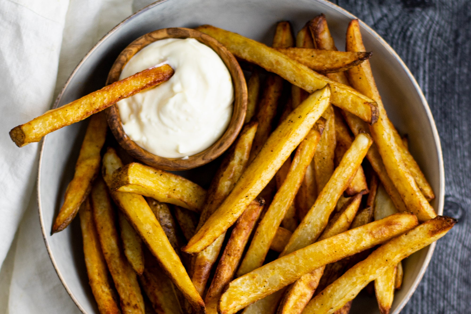 Oven Baked Fries with Garlic Aioli
