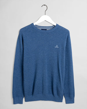 Denim Blue Mel Cotton Piqué Crew Sweater - Gant