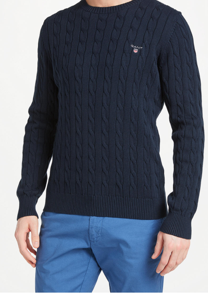 GANT - MEN'S COTTON CABLE CREW EVENING BLUE