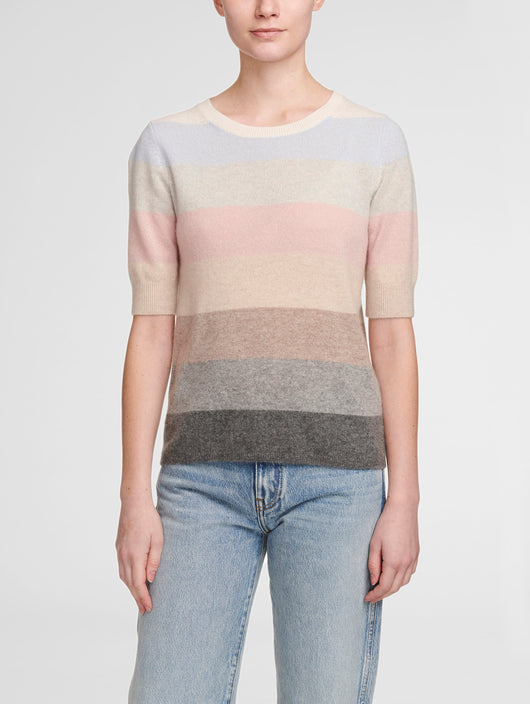 White and Warren Block Striped Cashmere Sweater