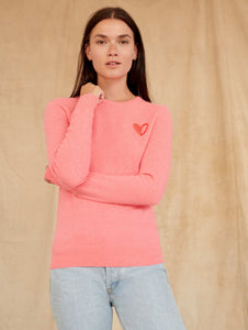 White and Warren Go Red Cashmere Heart Crewneck Sweater