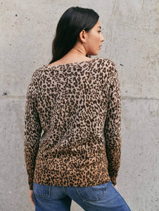 White and Warren Cashmere Ombre Leopard Sweatshirt