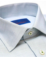 Load image into Gallery viewer, David Donahue Green Textured Micro Check Dress Shirt