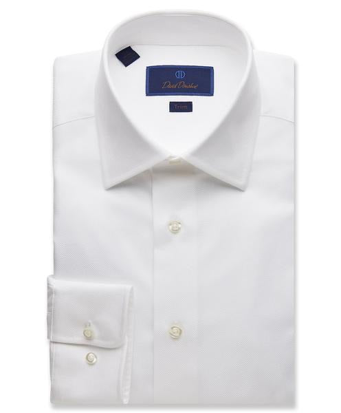 David Donahue White Trim Fit Royal Oxford Dress Shirt