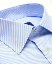 Load image into Gallery viewer, David Donahue White & Blue Striped Non-Iron Dress Shirt