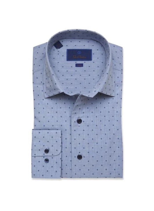 David Donahue Denim Mirco Diamond Print Fusion Shirt