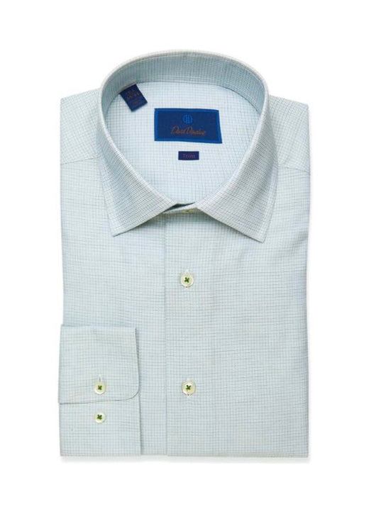 David Donahue Green Textured Micro Check Dress Shirt
