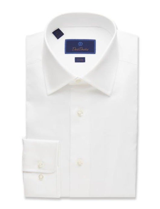 David Donahue White Trim Fit Super Fine Twill Dress Shirt
