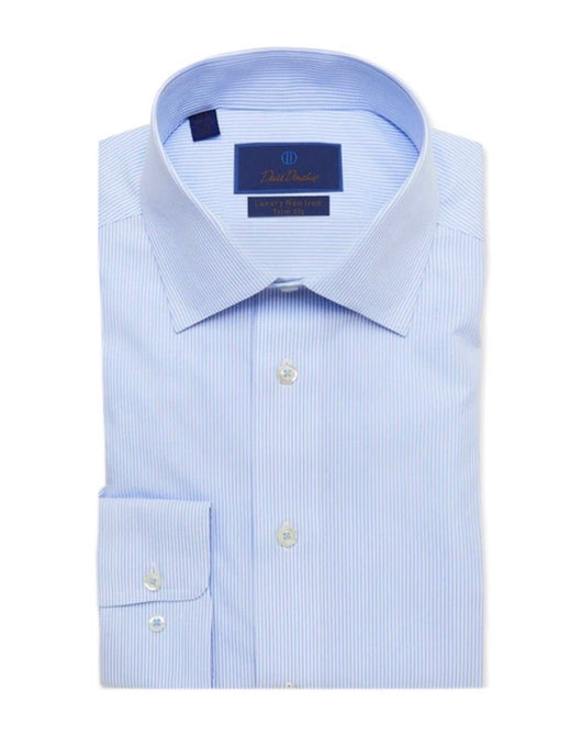 David Donahue White & Blue Striped Non-Iron Dress Shirt