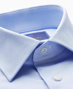David Donahue Sky Blue Trim Fit Royal Oxford Dress Shirt