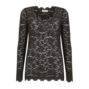 Rosemunde Delicia Long Sleeve Lace Top In Black