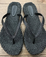 Load image into Gallery viewer, Ilse Jacobsen Glitter Flip Flops In Black