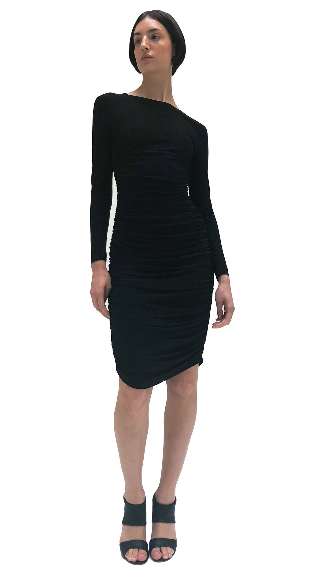 Norma Kamali Long Sleeve Shirred Black Dress