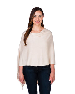 Cotton and cashmere poncho wrap