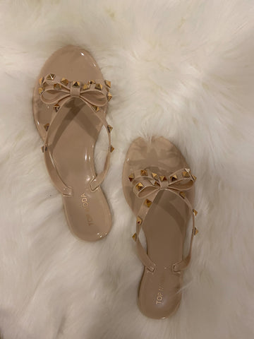 Nude Bow Studded Sandals