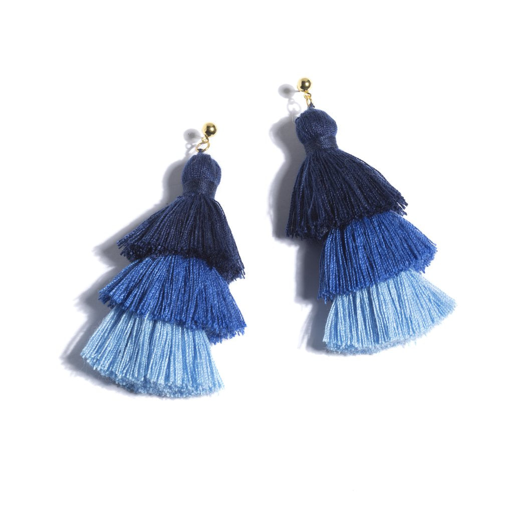 Ocean Blue Tassel Earrings