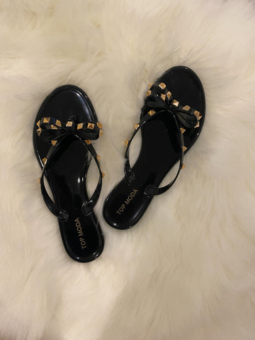 Black Bow Studded Sandals
