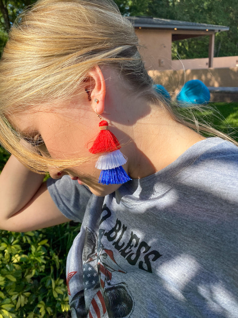 Red, White and Blue Tassel Earring