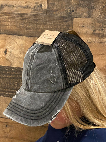 Distressed Ponytail Hat