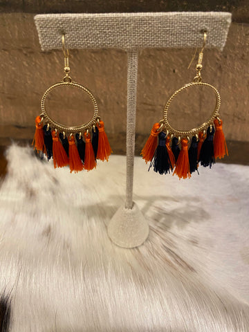 Hooped Tassel Earrings