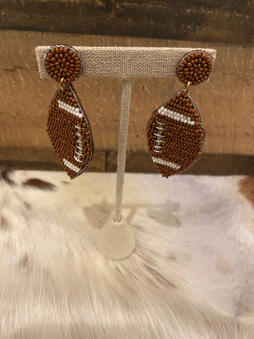 Beaded Football Earrings