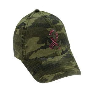 Anchor With BC Ribbon on Green Camo Cap