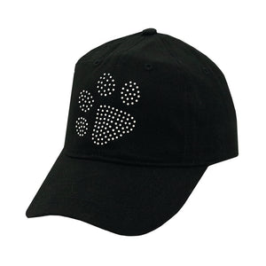 Clear Crystal Paw on Black Solid Cap