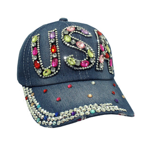 USA Multi-Tones Stones on Denim Cap