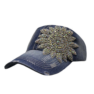 Big Crystal Flower Vintage Cap