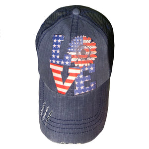 Love Red White and Blue Cap