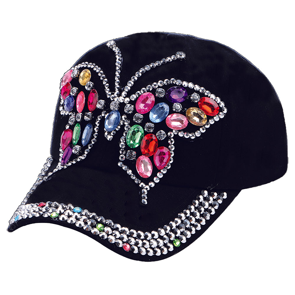 Butterfly Multi-Colored Stones Cap
