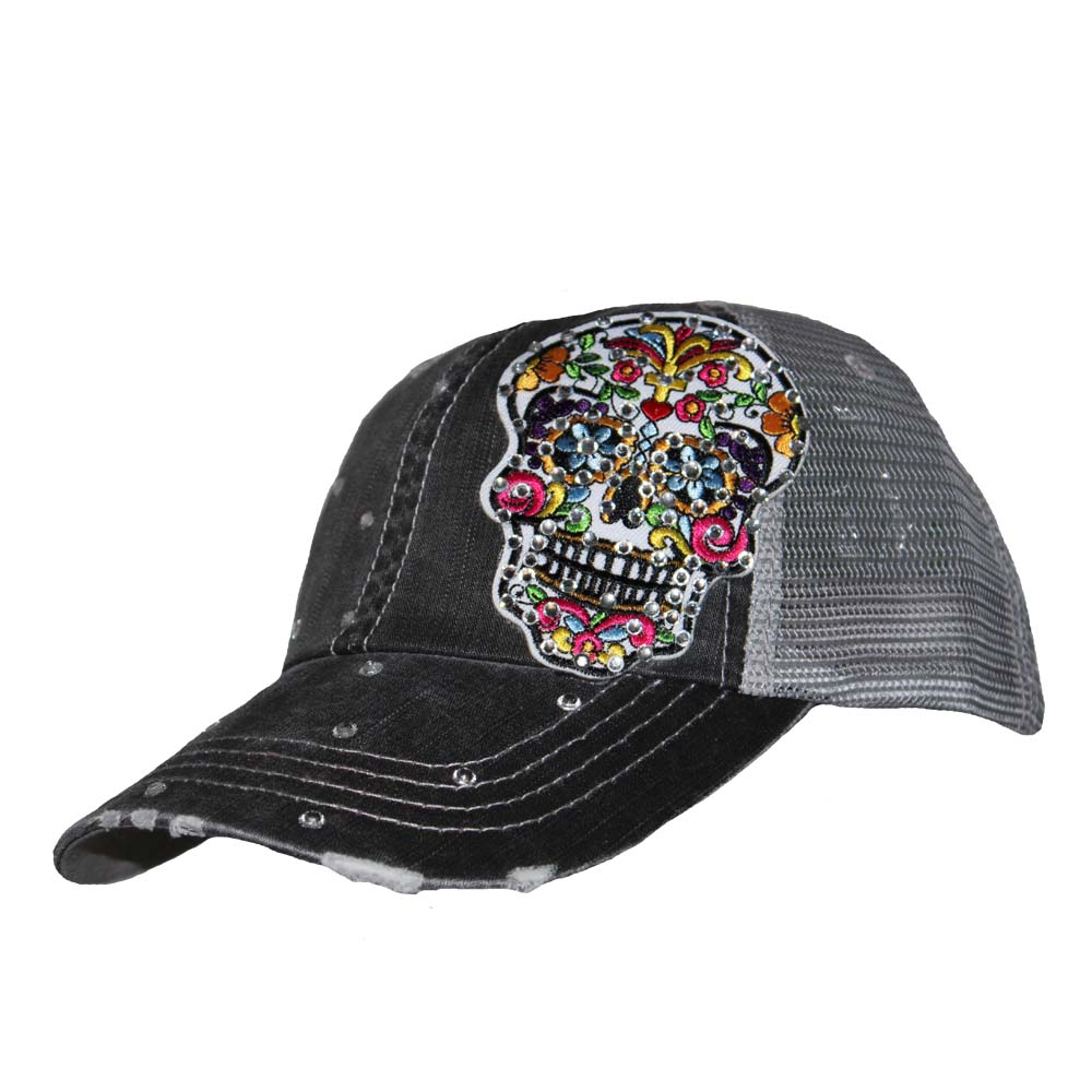 Sugar Skull Crystallized Mesh Cap