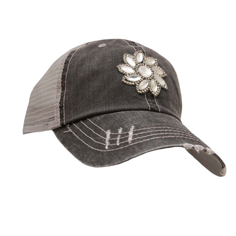 Small Crystal Flower Mesh Cap