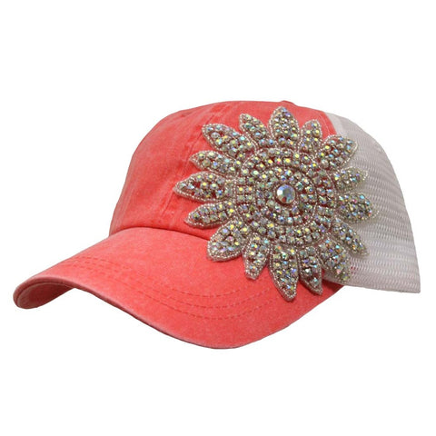 Big Crystal Flower Mesh Cap