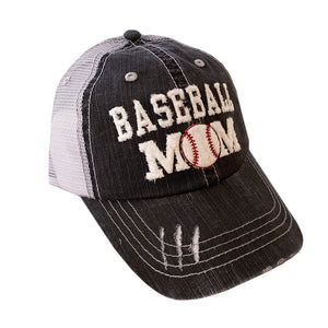 Baseball Mom Mesh Cap - Black