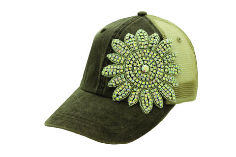Iridescent Crystallized Flower Mesh Cap