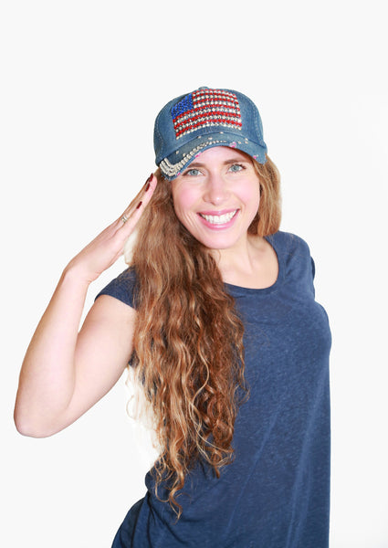 Crystallized American Flag Cap - Blue