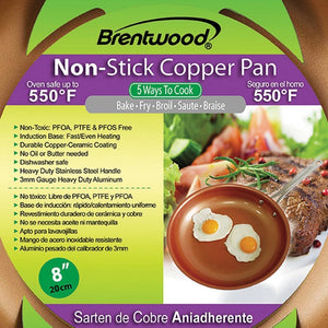 "Brentwood Nonstick Induction Copper Fry Pan (8"") - Northwest Homegoods"