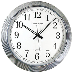 "16"" Galvanized Metal Silver Wall Clock - Northwest Homegoods"