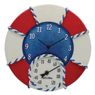 14-Inch Life Preserver Clock with Thermometer - Northwest Homegoods